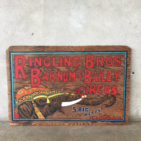 Ringling Brothers Circus Painted Wood Sign