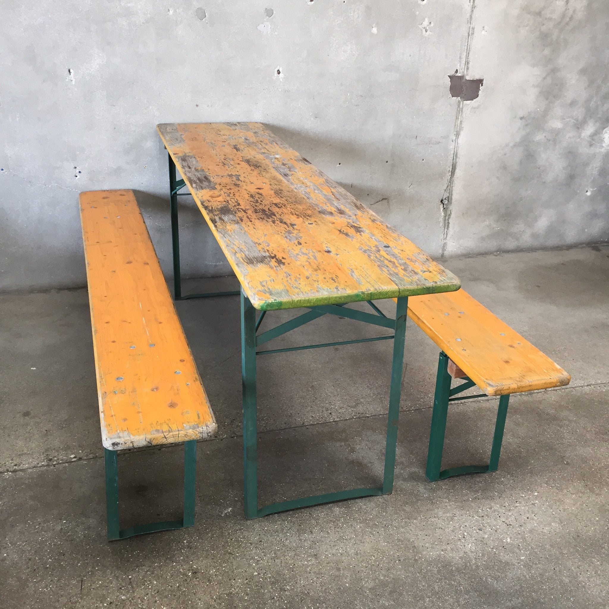Vintage German Beer Garden Tables and Two Benches. Vintage German Beer Garden Tables and Two Benches   UrbanAmericana