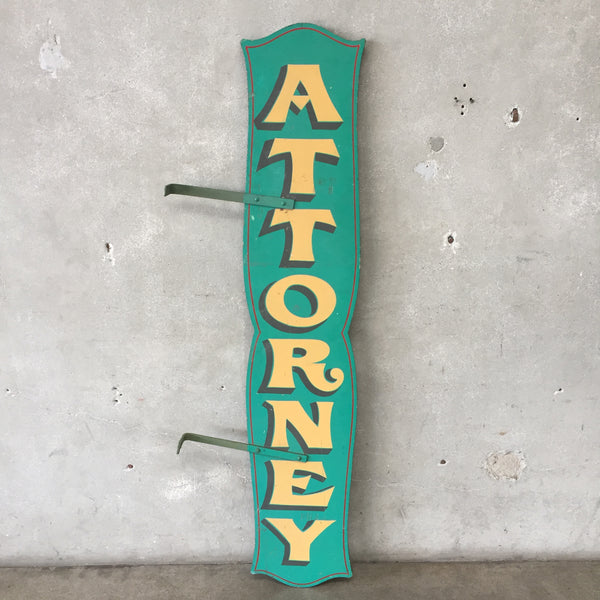 Two Sided Vintage Wood Painted Attorney Sign