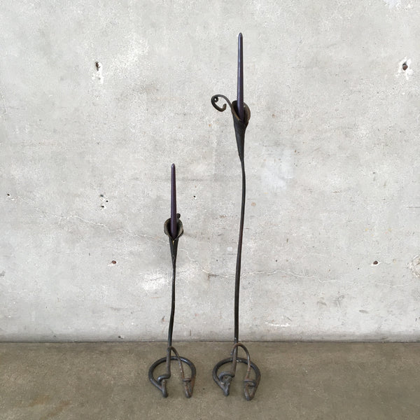 Pair of Hand Forged Candlesticks by Jack Brubaker