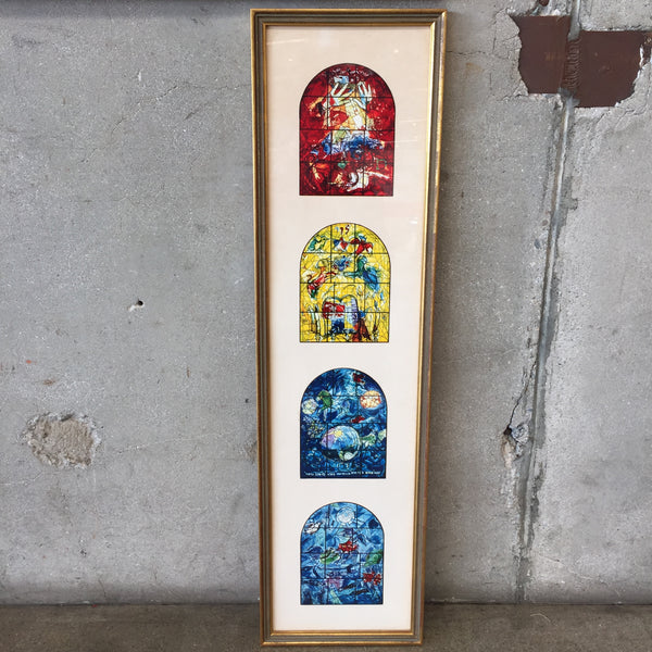 Marc Chagall Framed Stained Glass Jerusalem Windows