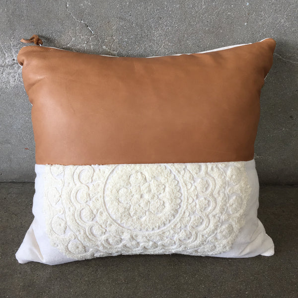 Suzani & Leather Pillow