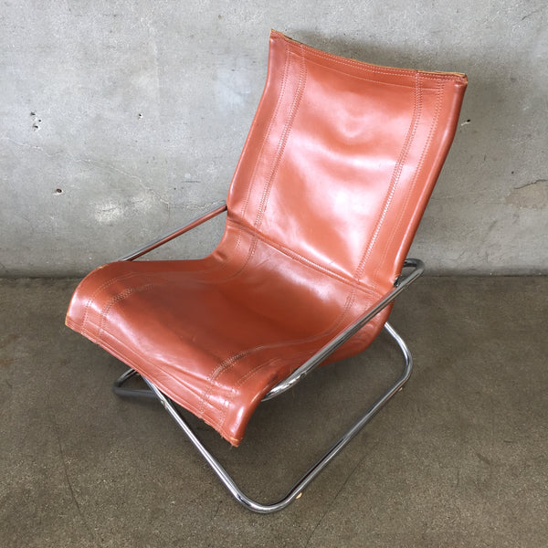 Mid Century Chrome Lounge & Leather Lounge Chair