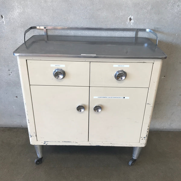 Vintage Industrial 1950's Metal Medical Cabinet