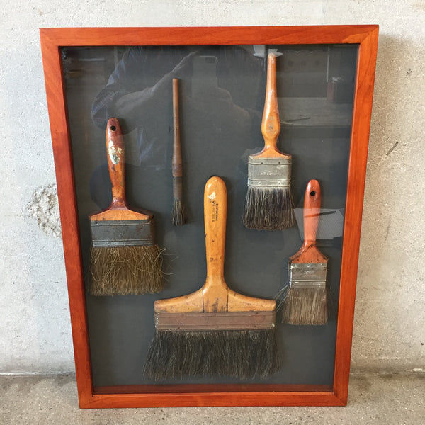 Vintage Paint Brushes in Shadow Box