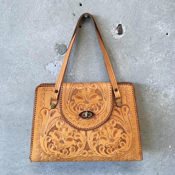 Vintage 1950's Tooled Leather Purse