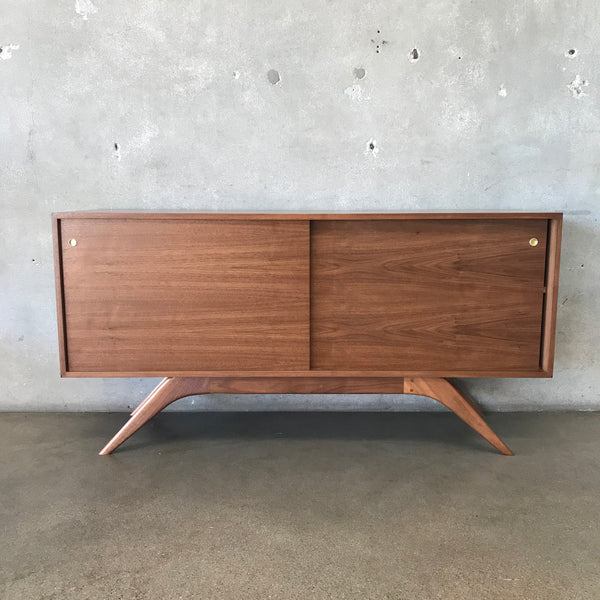 Mid Century Style Walnut Credenza with Sculpted Legs