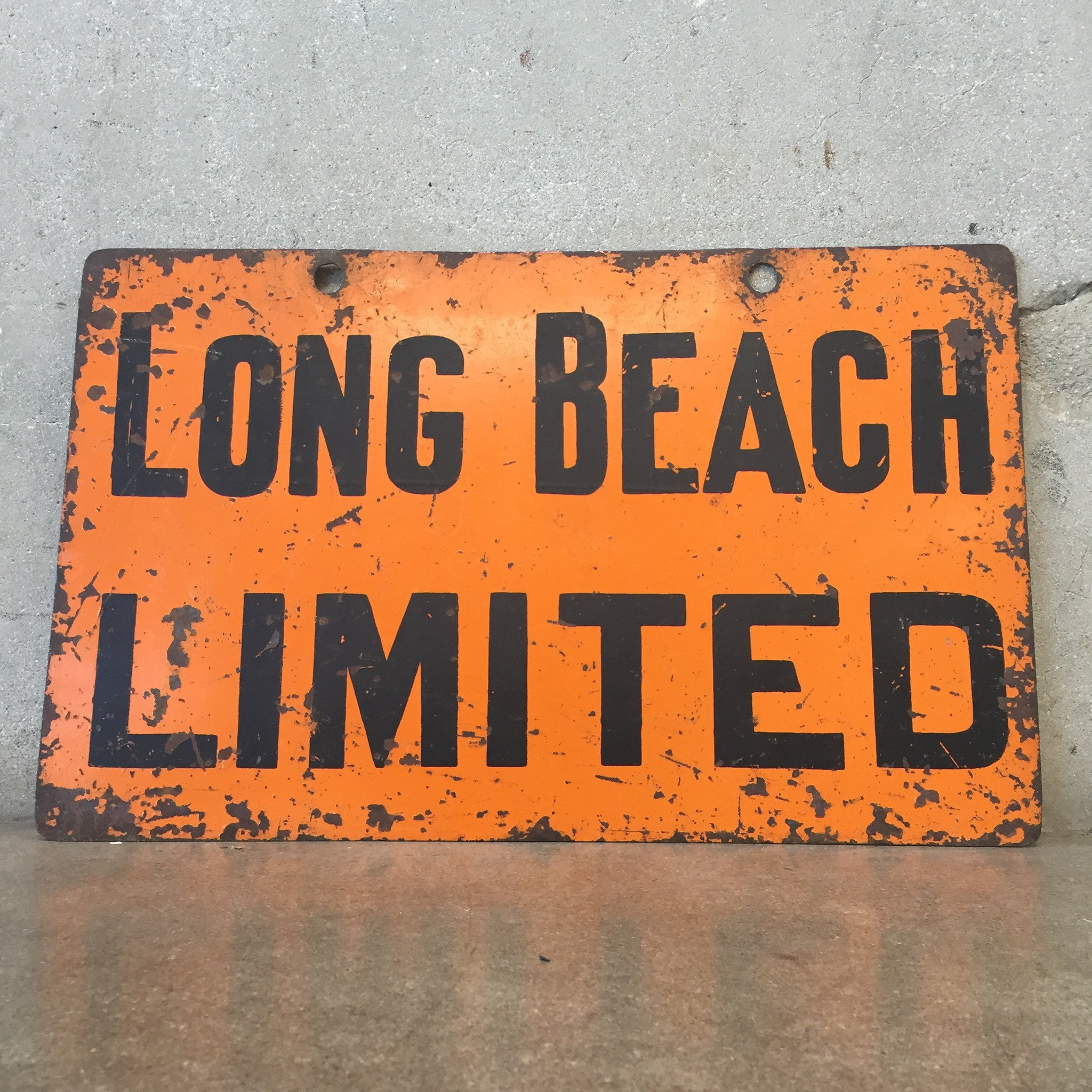 Vintage Long Beach Los Angeles Limited Trolley Sign