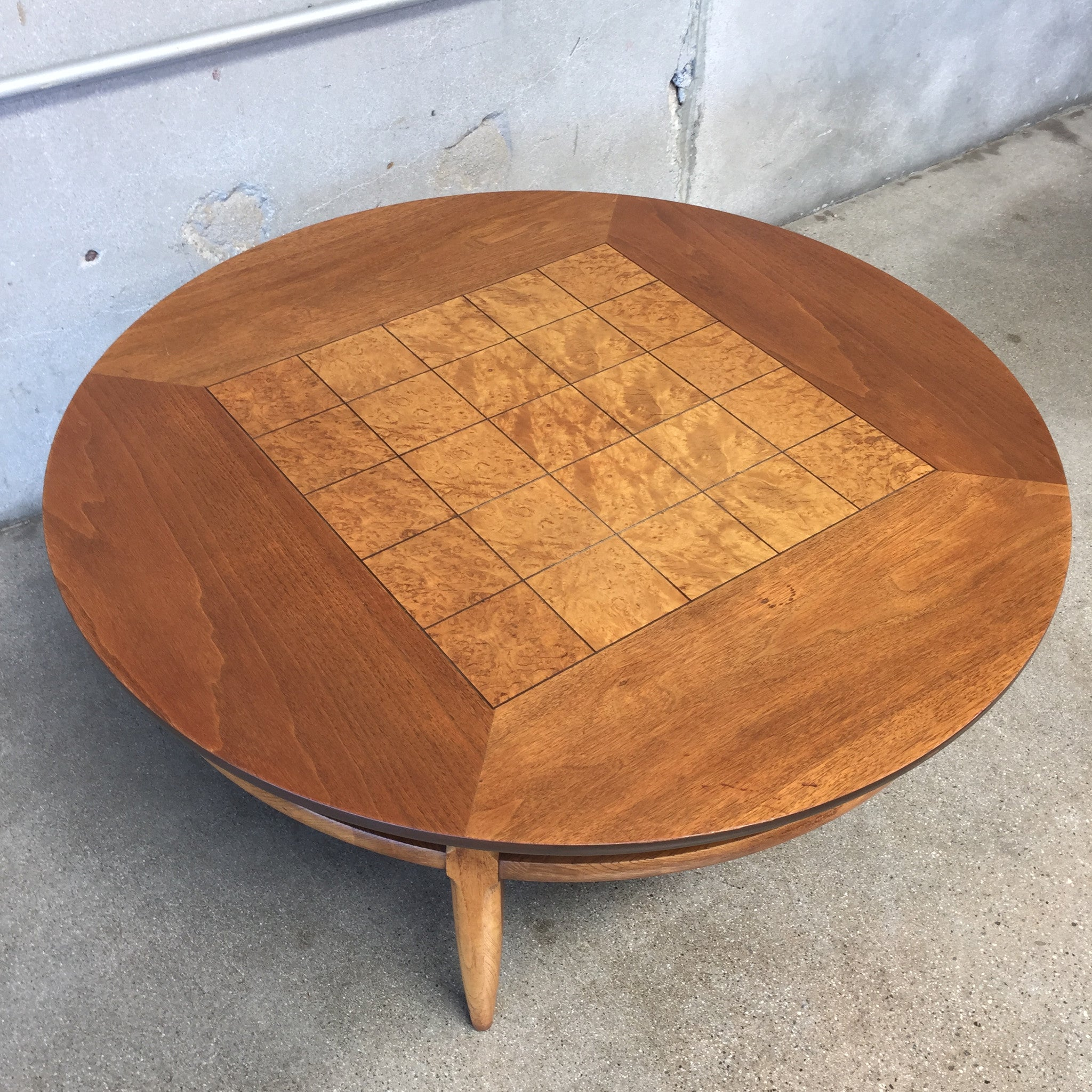 60 s Lane Round Coffee table Burl Inlaid Squares – UrbanAmericana