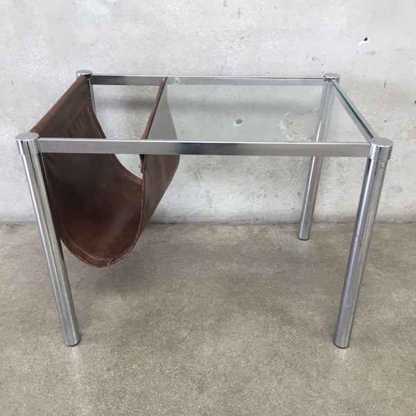 Vintage Side Table with Leather Magazine Holder