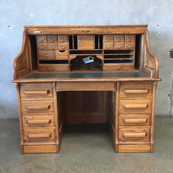 Solid Oak Vintage Roll Top Desk