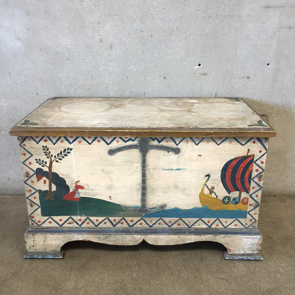 1940's Folk Art Blanket Chest in the Style of Peter Hunt