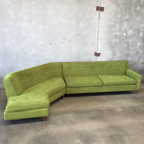 Vintage Upholstered Mid Century Sectional Sofa