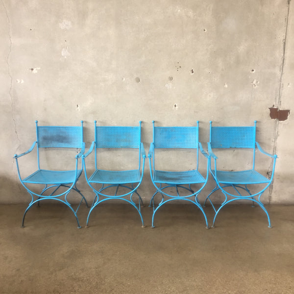 Mid Century Metal Patio Chairs - set of four