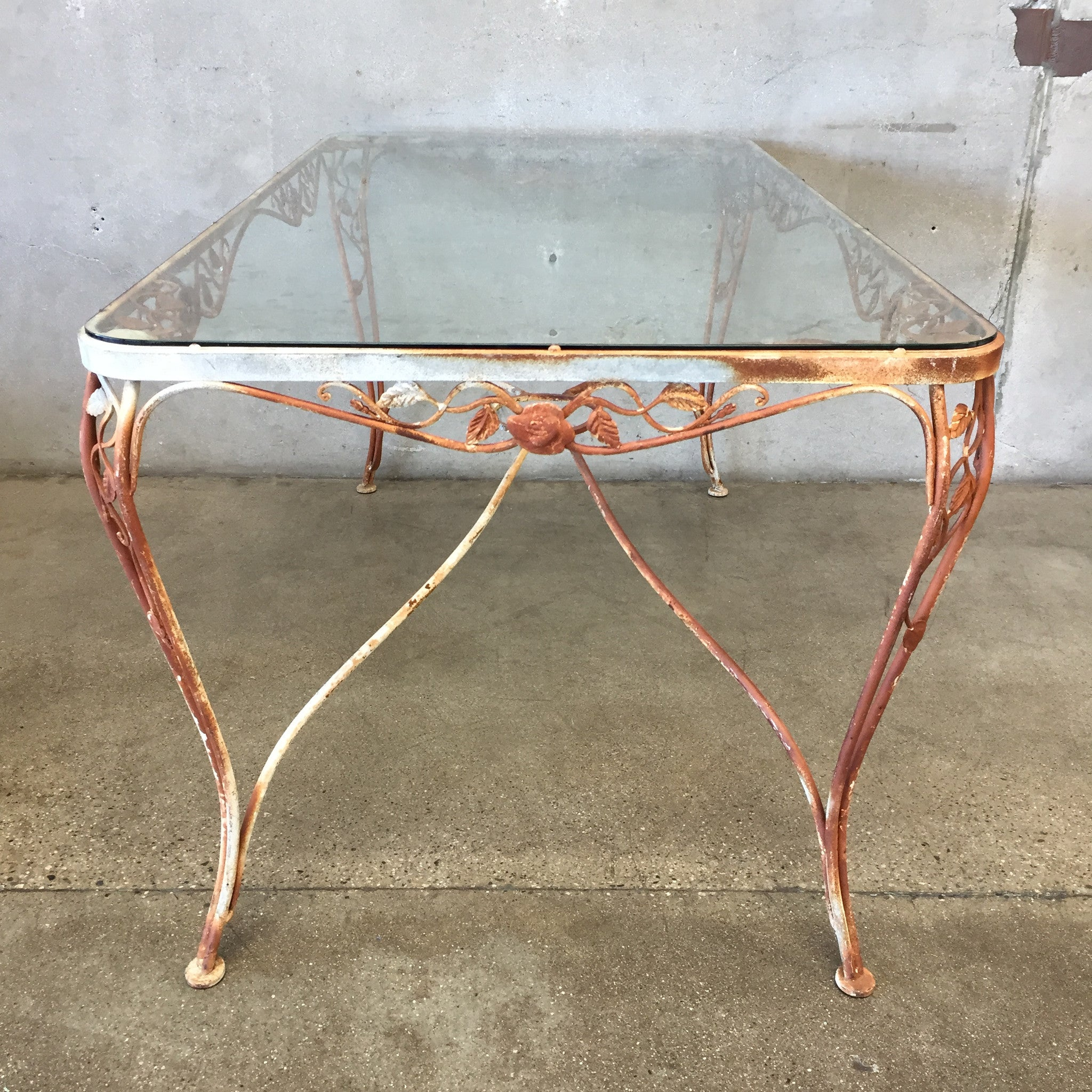 ... Vintage Iron Patio Table With Tempered Glass Top ...