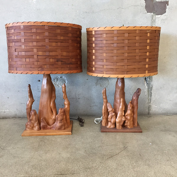 Pair of Cypress Root Lamps