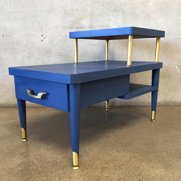 Vintage Hand Painted Royal Blue 1950's Side Table