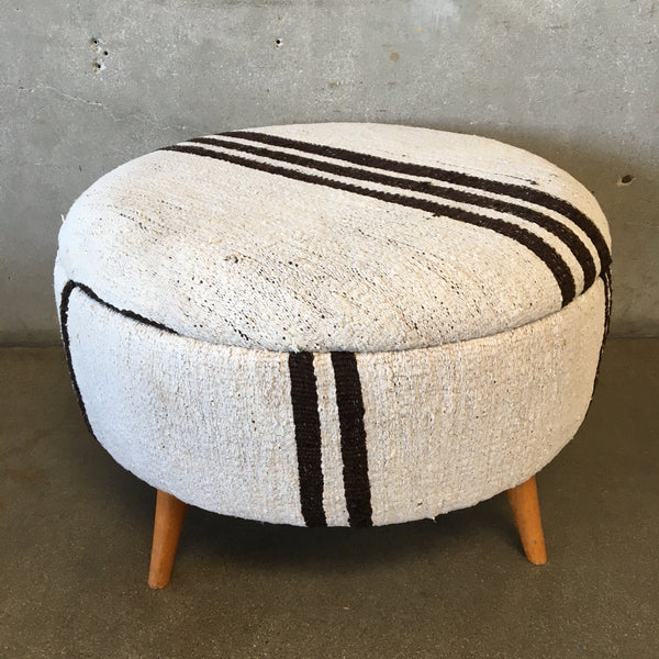 Ottoman Covered in Vintage Hemp Cloth