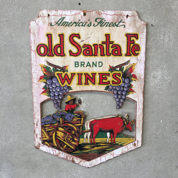 Vintage 1940-1950's Santa Fe Wine Two Sided Sign