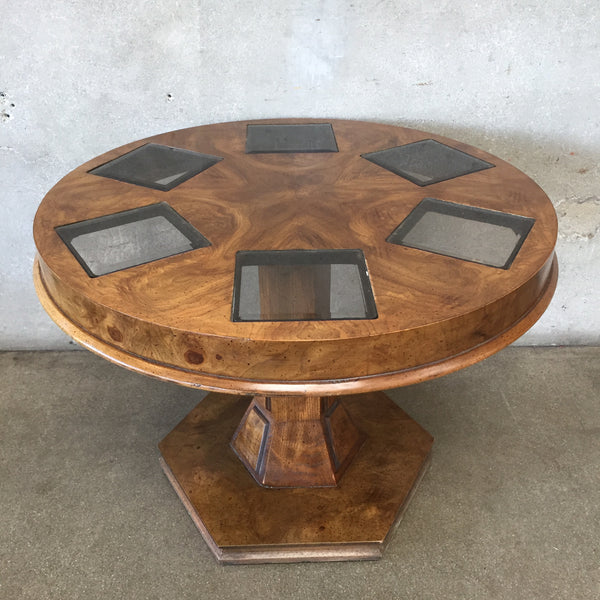 Vintage Side Table with Glass Squares