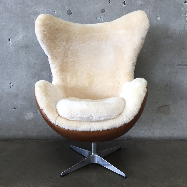 Arne Jacobson Leather & Sheepskin Inspired Egg Chair