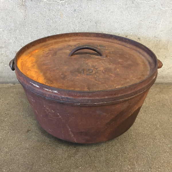 Antique Cast Iron Dutch Oven with Lid