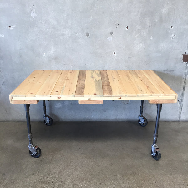 Custom Made Black Pipe Table on Industrial Casters