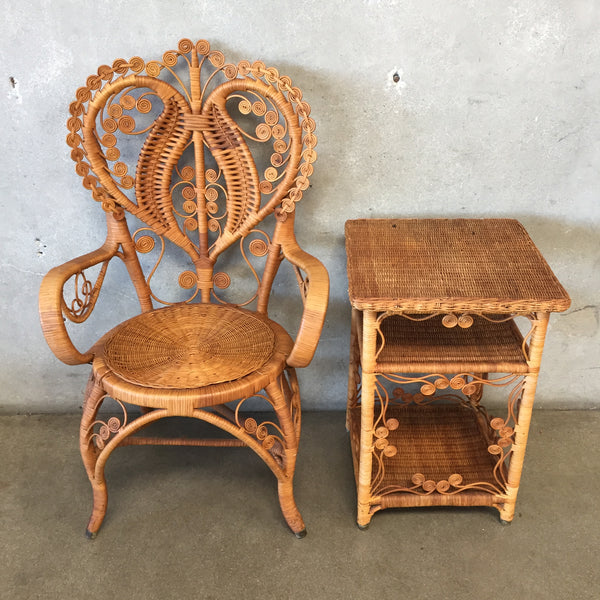 Two Piece Rattan Chair and Table Set