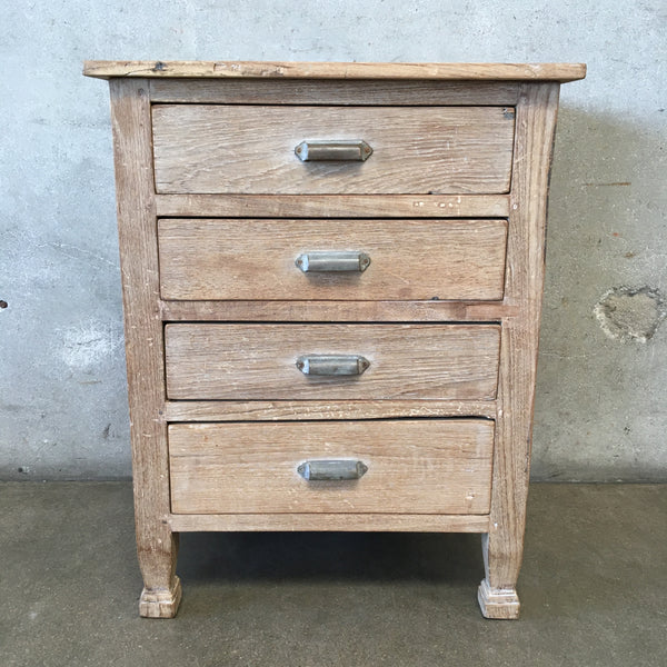 Vintage Wood Nightstand with Four Drawers