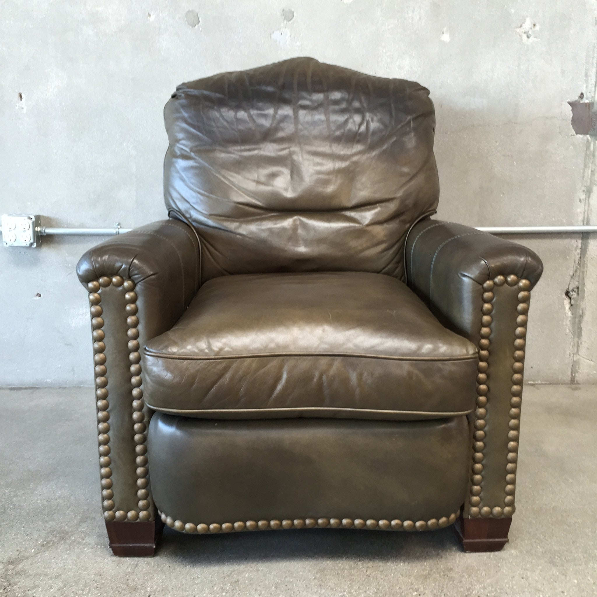 & Dark Green Chair / Leather Recliner with Large Nail Studs ... islam-shia.org