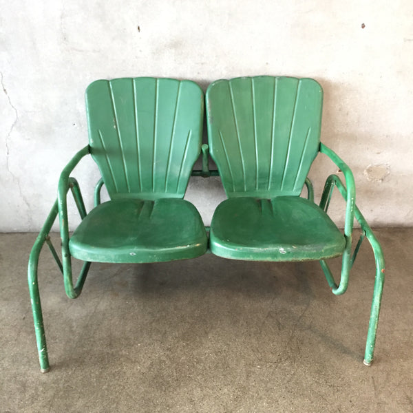 Green Outdoor Vintage Glider Love Seat