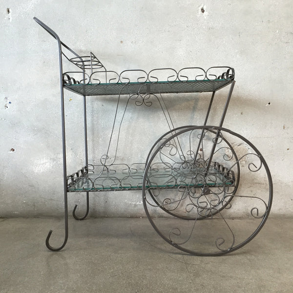 Bronzed Rolling Bar Cart