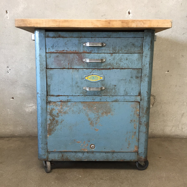 Vintage Tool Cart Repurposed with Butcher Block Top