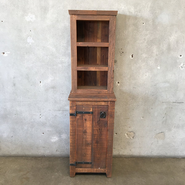 Rustic Tall Cupboard With Cabinet and Top Shelf