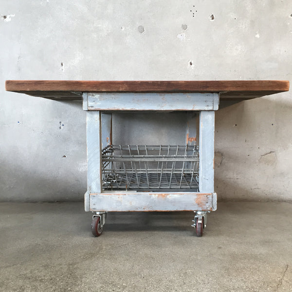 Kitchen Island with Metal Baskets