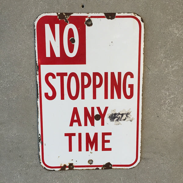 "Vintage 1940's Porcelain ""No Stopping"" Sign"