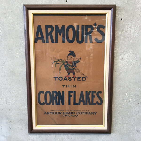 Framed Advertisement 1900's Amour Corn Flakes Chicago