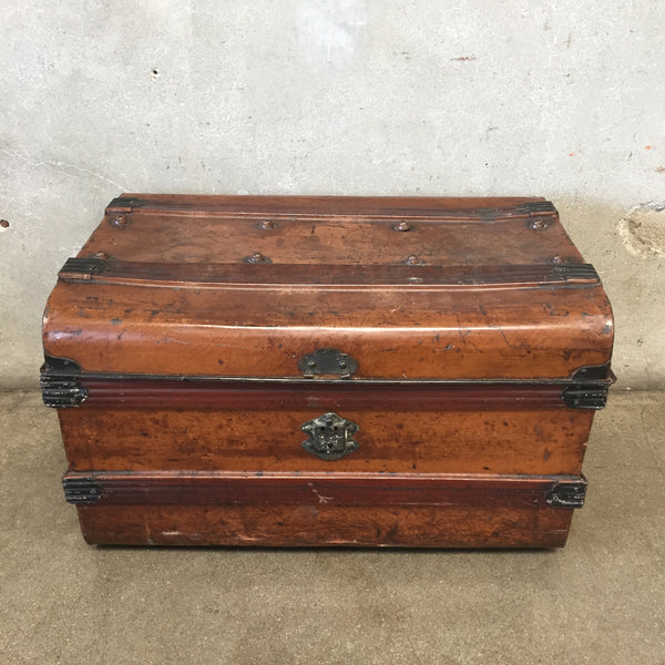 Vintage Faux Wood Metal Trunk