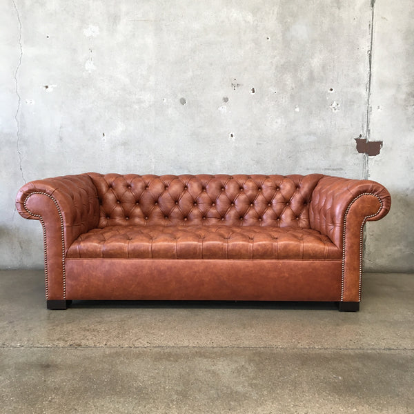 Modern Leather Tufted Sofa