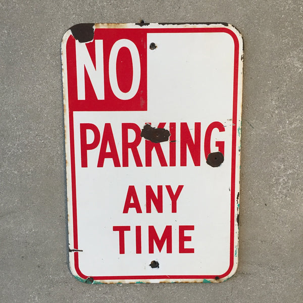 "Vintage 1950's Porcelain ""No Parking"" Sign"