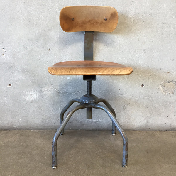 Vintage Industrial Metal & Wood Task Singer Chair