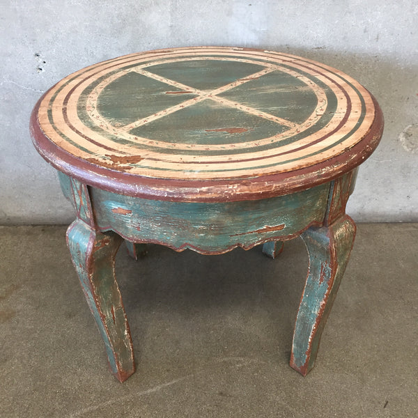 Vintage Wood Painted Rustic Lamp Table