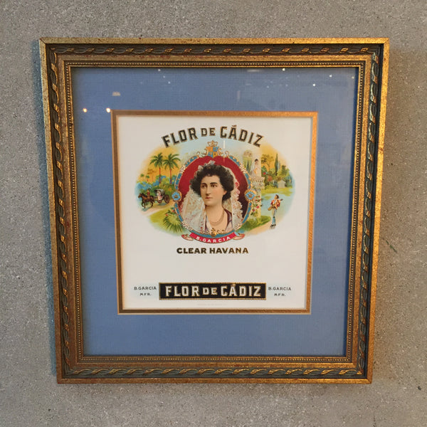 "Framed Vintage ""Flor De Cadiz"" Cigar Box Label"