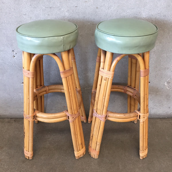 Pair of Vintage Rattan Stools