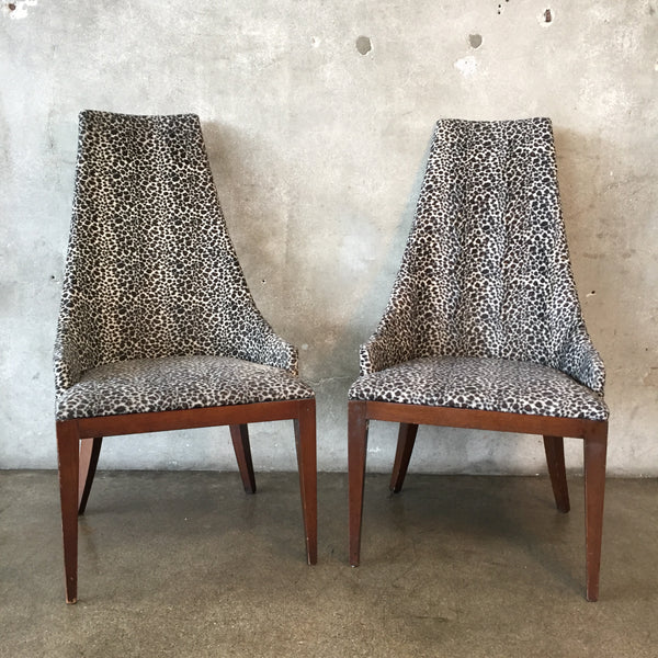 Pair of Leopard Upholstered Walnut Backed Chairs