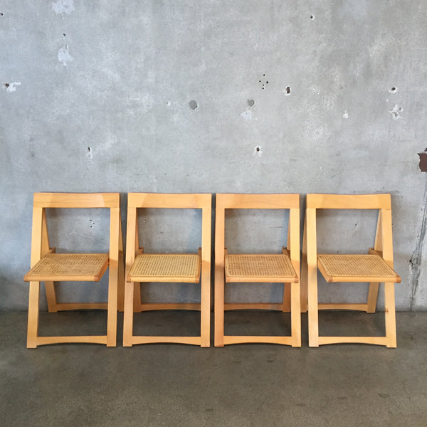 Set of Four Cane Back Folding Chairs