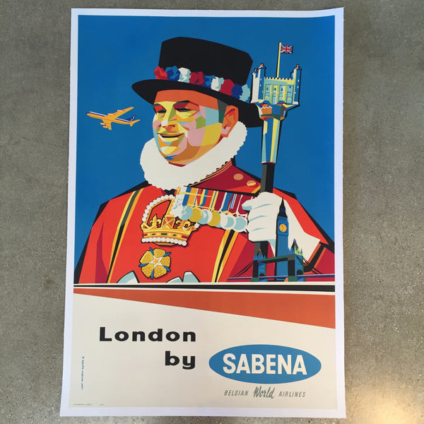 Vintage Travel Poster Sabena Belgian World Airlines London