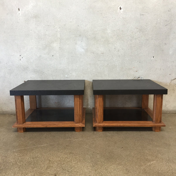 Set of Vintage Wood & Glass Side Tables