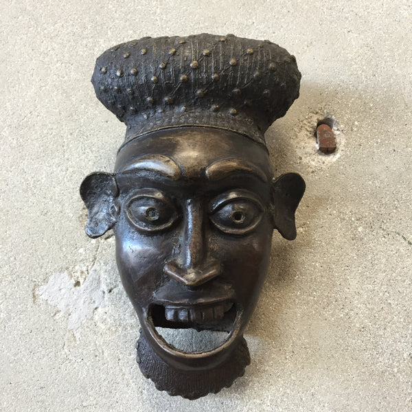 1950's Signed Bronze Mask Wall Art