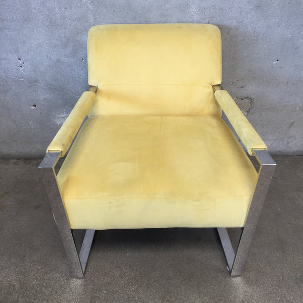 Ultra Suede Mellow Yellow Modern Chrome Chair